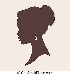 Silhouette of beautiful elegant african woman - Beauty salon...