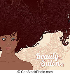 Beauty Salon: Pretty young african american woman with beautiful