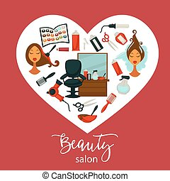 Beauty salon promotional poster with equipment for hairstyle inside heart