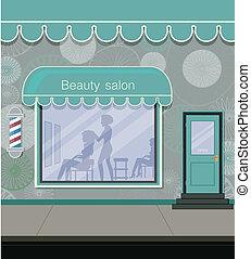 Salon adjacent street in the city