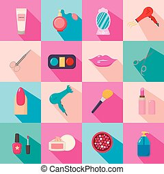 Beauty salon. Set of cartoon icons. Colorful background. New business. Vector illustration.