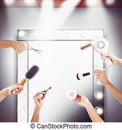 Beauty salon - Mirror and equipment to make-up and...