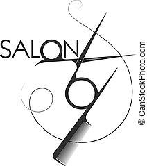 Beauty salon symbol scissors and comb