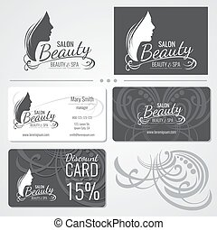 Hair salon business card templates with red hair on green background beauty salon vector business card templates with beautiful woman face silhouette logo reheart Images