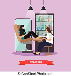 Beauty salon vector concept banners. Women in studio making pedicure illustration in flat cartoon style.