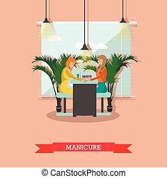 Beauty salon vector concept banners. Women in studio making manicure illustration in flat cartoon style