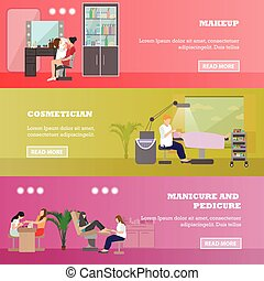 Beauty salon vector concept banners. People in manicure and cosmetic studio illustration in flat cartoon style