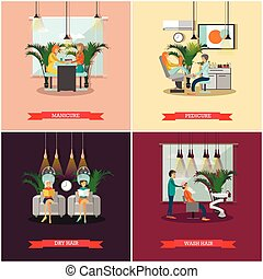 Beauty salon vector concept banners. Haircut, manicure and make up atelier. Women in studio illustration flat cartoon style