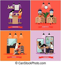 Beauty salon vector concept banners. Haircut, manicure and make up atelier. Women in studio illustration