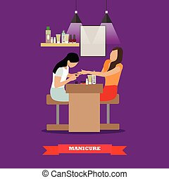 Beauty salon vector concept banners. Women in studio making manicure illustration flat cartoon style.