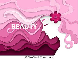 Beauty salon vector illustration in paper art style