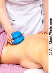 Beauty salon. Woman getting spa cupping glass vacuum massage