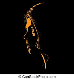 Beauty Scared Woman Face silhouette