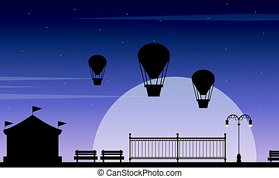 Beauty scenery carnival funfair silhouette