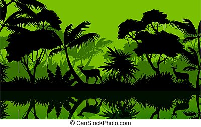 Beauty scenery forest with deer silhouette