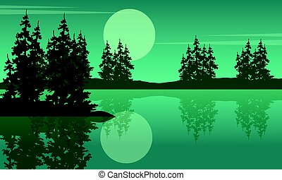 Beauty scenery lake with spruce silhouettes