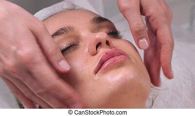 beauty, schoonheidsmiddel, vrouw, masker, salon, haar, gezicht, face., application., gezichts, procedure., masseren