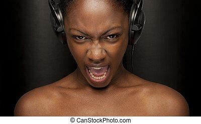 beauty scream - Beauty black skin woman with nice screaming ...