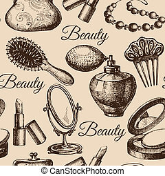 Beauty seamless pattern. Cosmetic accessories. Vintage hand drawn sketch vector illustrations
