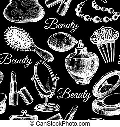 Beauty seamless pattern. Cosmetic accessories. Vintage hand...
