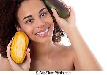 Beauty secret is hidden inside of fruits - Portrait of an ...