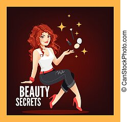 Beauty Secrets - Beautiful redhead is holding miracle...