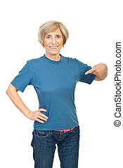 Beauty senior woman in blank t-shirt