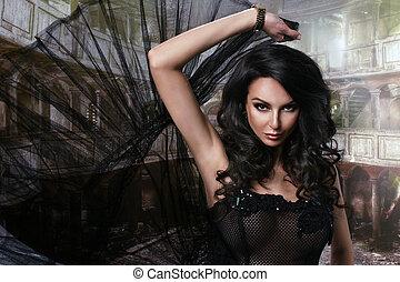 beauty, sensueel, zwarte jurk, vrouw