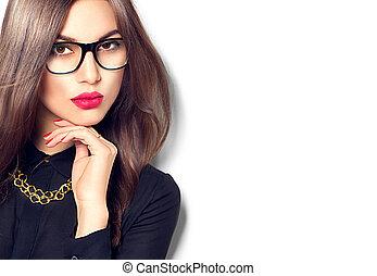 beauty, sexy, mannequin, meisje, het voeren bril, vrijstaand, op wit, achtergrond