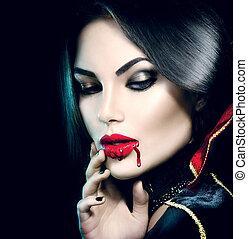 beauty, sexy, vampier, meisje, met, het droppelen, bloed,...