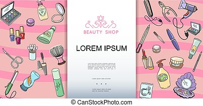 Beauty Shop Colorful Hand Drawn Template