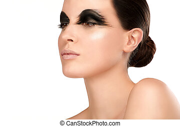 Beauty shot artistic smoky eye on beautiful model