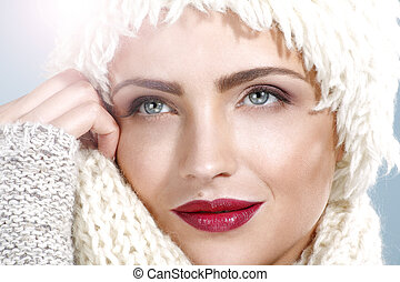 beauty shot of a beautiful woman in winter clothes
