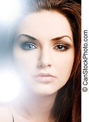 Beauty Shot - A pretty young woman with an illuminous...