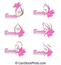 Beauty signs templates set woman sketch with flower
