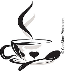 silhouette of cup coffee lover - beauty silhouette of cup ...