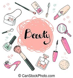 Beauty sketch background. Hand drawn doodle vector illustration