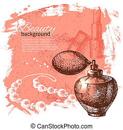 Beauty sketch background. Vintage hand drawn vector illustration of cosmetic accessories