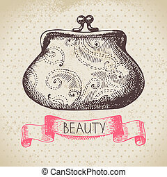 Beauty sketch background. Vintage hand drawn vector illustration of cosmetic