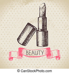 Beauty sketch background. Vintage hand drawn vector...
