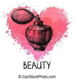 Beauty sketch background with splash watercolor heart....