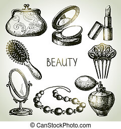 Beauty sketch icon set. Vintage hand drawn vector...
