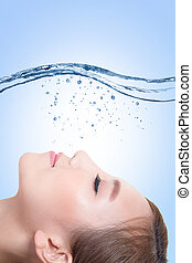 beauty skin care concept - Beautiful portrait of woman with...