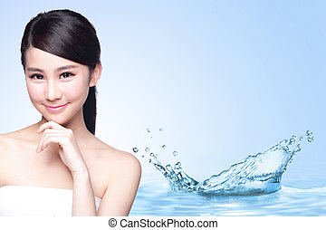 Beauty Skin care concept, Beautiful woman face with Water ...