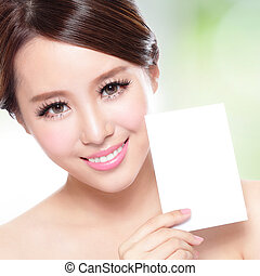 Beauty Skin care woman showing copy space