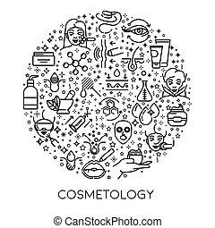 beauty, skincare, poster, lijn, cosmetology, iconen, spa