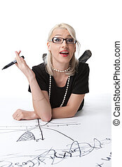 beauty smart blond woman with idea on graph