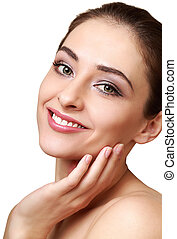 Beauty smiling woman face with clean skin looking. Isolated