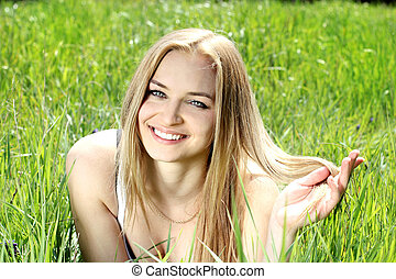 Beauty Smiling youang women with blond hair