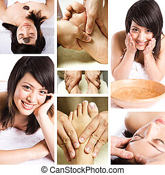 Beauty spa and massage collage - A collage of a beautiful...